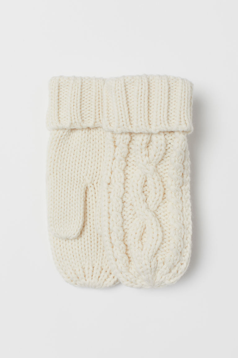 Cable-knit mittens - Natural white - Ladies | H&M CN