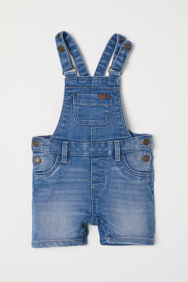 Denim dungaree shorts - Denim blue - Kids | H&M CN