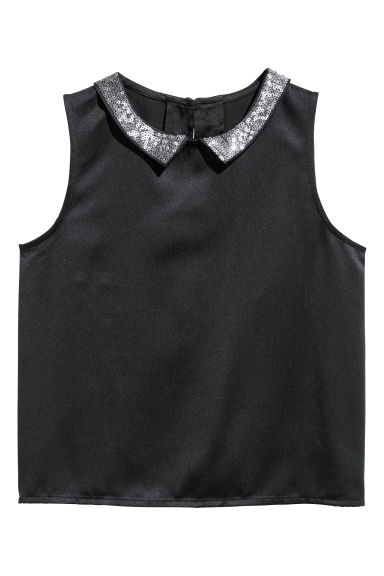 Sleeveless blouse - Black/Sequins - Kids | H&M CN