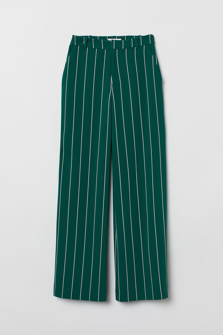 Wide trousers - Green/Striped - Ladies | H&M GB