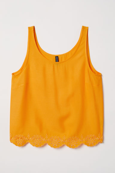Top with broderie anglaise - Yellow -  | H&M