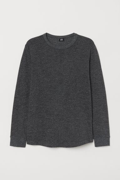 Long-sleeved top - Black/Dark grey marl - Men | H&M