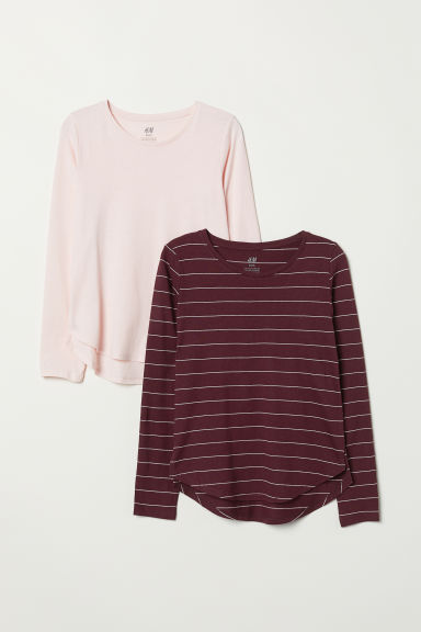2-pack tops - Burgundy/Striped - Kids | H&M