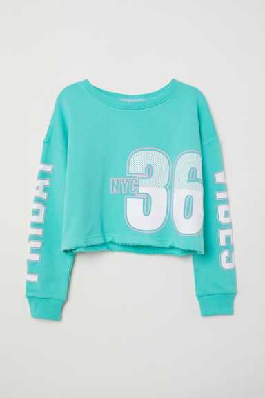 Printed sweatshirt - Light green/NYC - Kids | H&M
