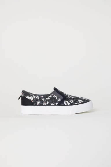 Patterned slip-on trainers - Dark grey/Mickey Mouse - Kids | H&M CN
