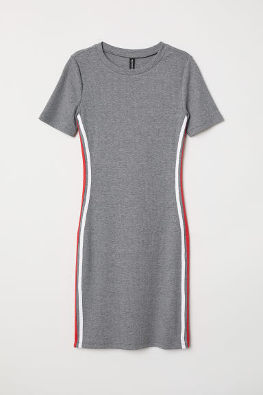 Short-sleeved jersey dress - Grey marl -  | H&M CN