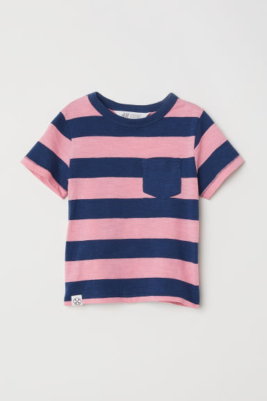 T-shirt with a chest pocket - Dark blue/Pink striped -  | H&M