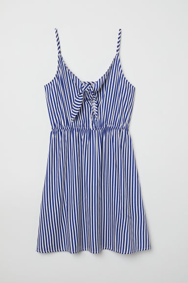 Dress with a tie - Bright blue/Striped -  | H&M CN