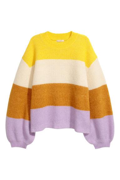 2ccb61cc616e8d Sweter z domieszką moheru - Żółty/Paseczki - ONA | H&M PL