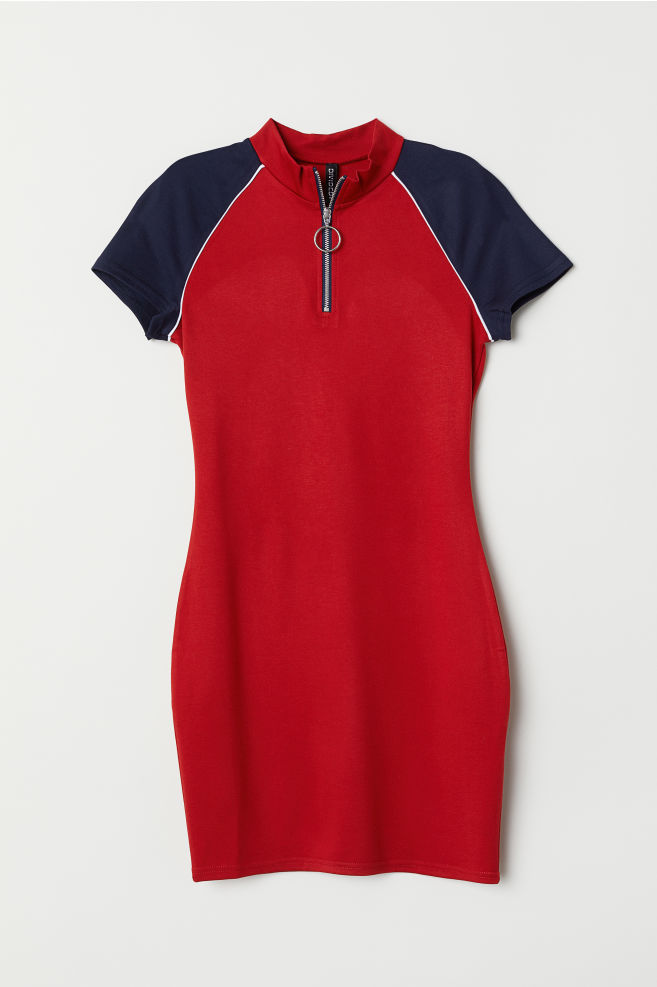 0bc1593a301ed0 Jersey Dress with Zip - Red/dark blue - | H&M ...