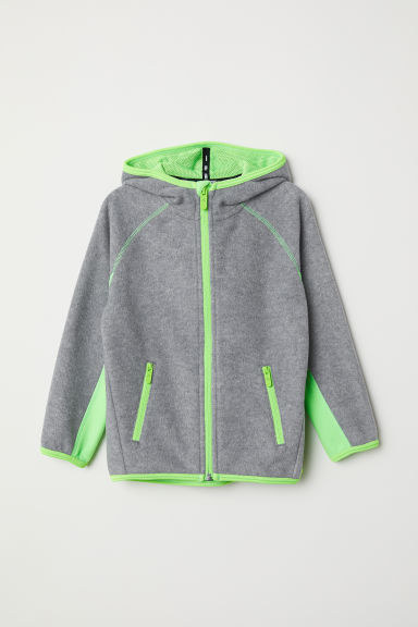 Fleece jacket with a hood - Light grey/Neon green - Kids | H&M