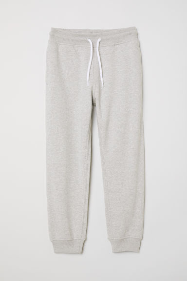 Cotton-blend joggers - Light grey marl - Kids | H&M CN