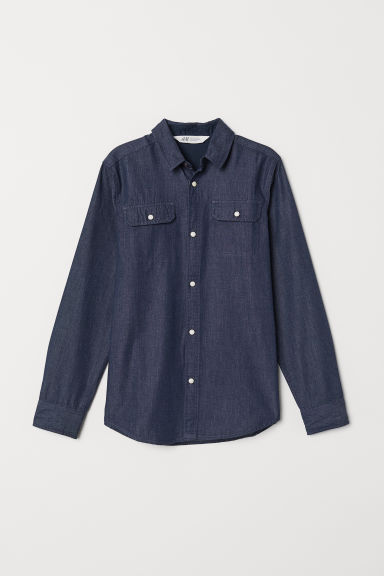 Cotton shirt - Dark blue/Chambray - Kids | H&M