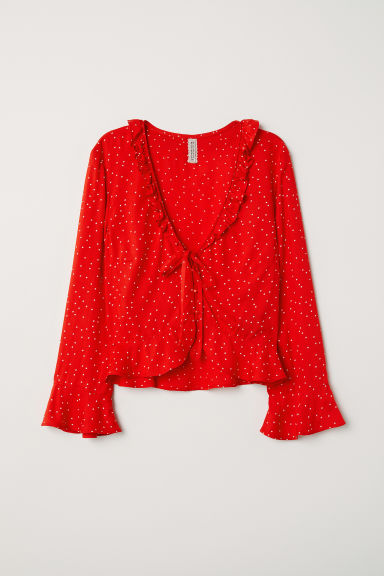 V-neck blouse with buttons - Bright red/Spotted -  | H&M