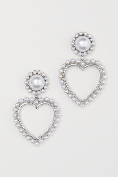 Heart-shaped earrings - Silver-coloured - Ladies | H&M