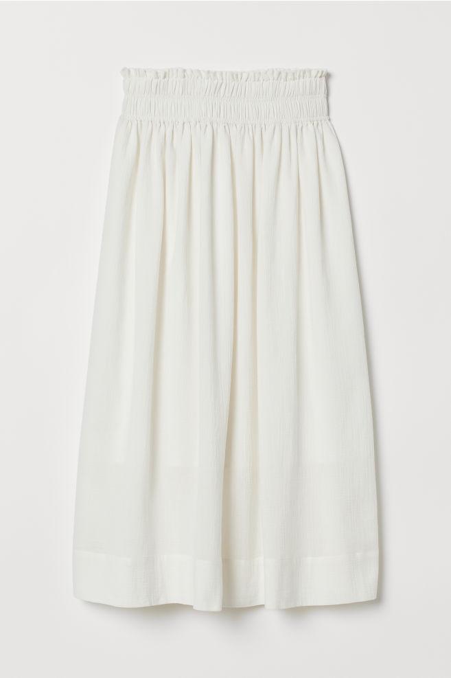 10a3a6148d ... Crêped Cotton Skirt - Natural white - Ladies | H&M ...