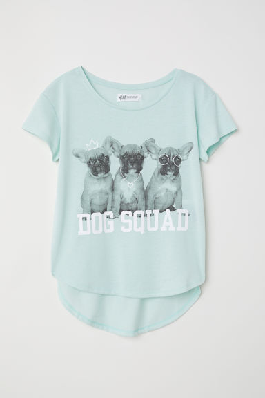 Printed jersey top - Light green/Dog Squad - Kids | H&M CN