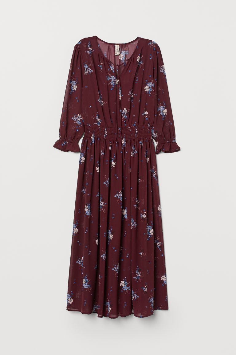 Patterned dress - Burgundy/Floral -  | H&M CN