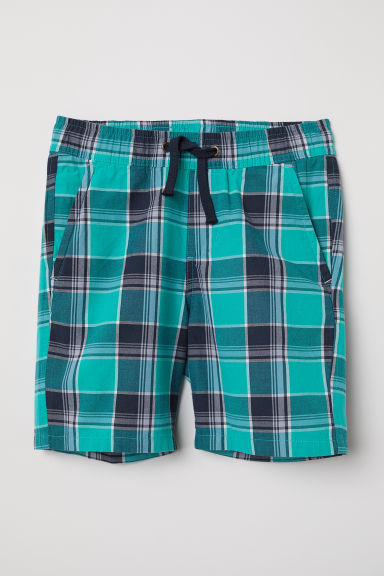 Woven shorts - Green/Checked - Kids | H&M