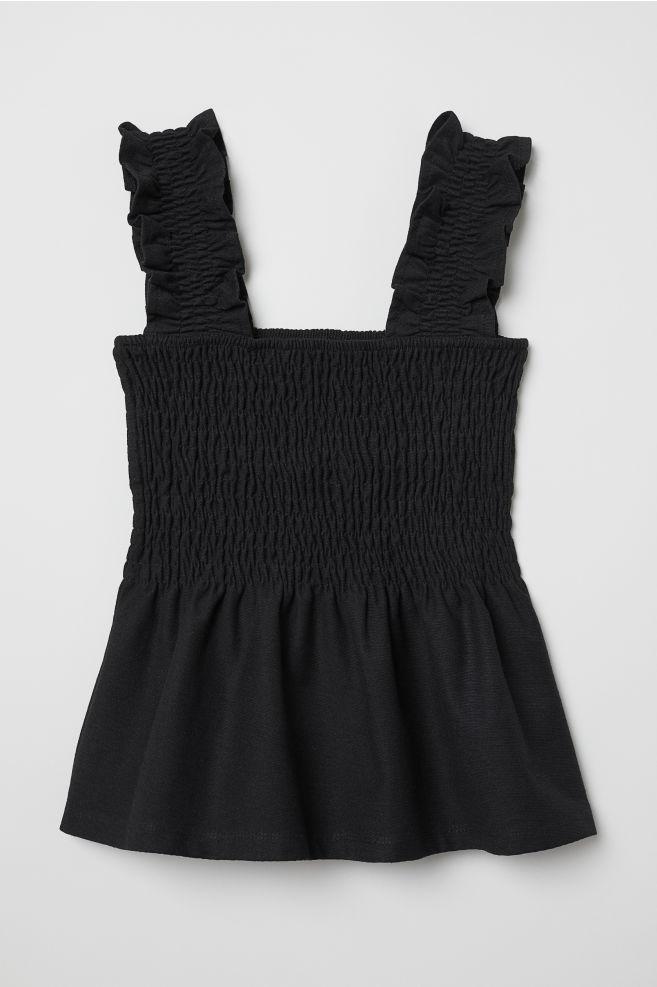f41172172c013 Smocked Peplum Top - Black - Ladies