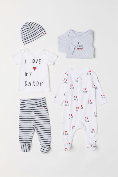 5-piece jersey set - Light grey marl/Love - Kids | H&M