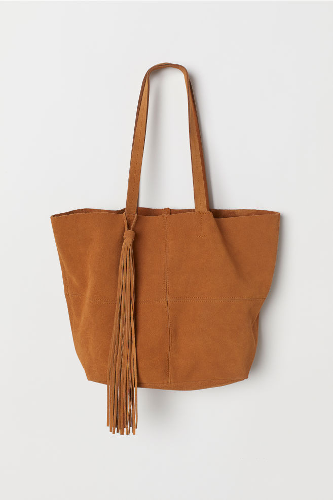 cfb9edb8 Shopper i semsket skinn - Lys brun - DAME | H&M ...