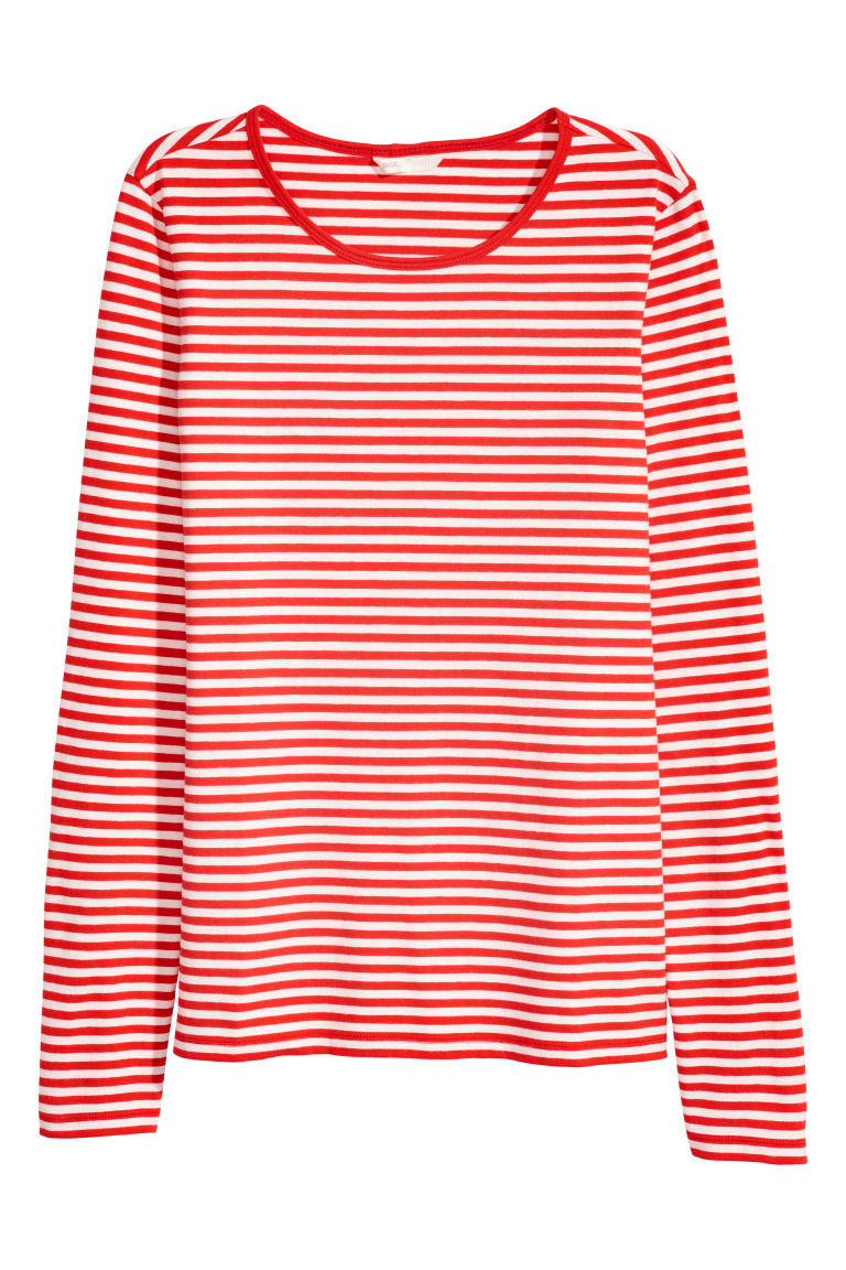 Top jersey a maniche lunghe - Rosso/righe - DONNA | H&M IT