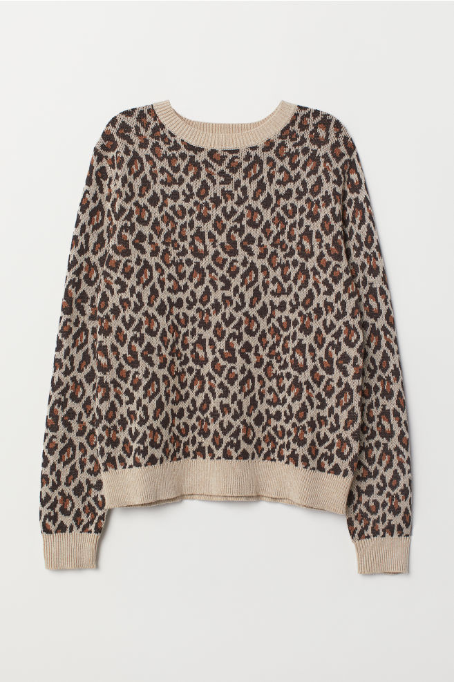 b4c92a5ed9 Pullover in Jacquardstrick - Beige/Leopardenmuster - Ladies   H&M ...