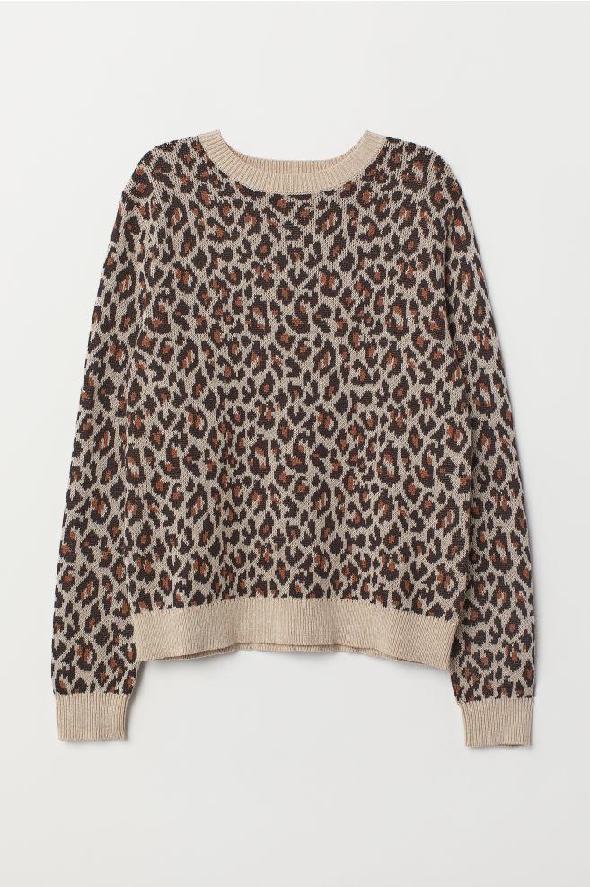 328b889c3136 Jacquard-knit Sweater - Beige/leopard print - Ladies | H&M ...