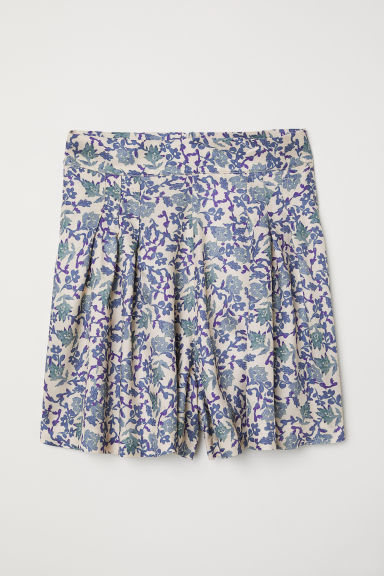 Patterned shorts - Light beige/Blue floral - Ladies | H&M