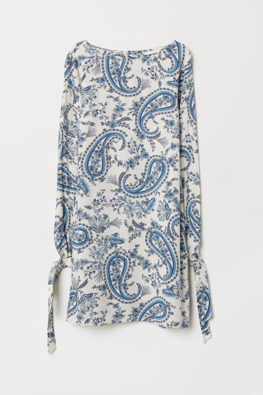 Tie-sleeved dress - White/Paisley-patterned - Ladies | H&M CN