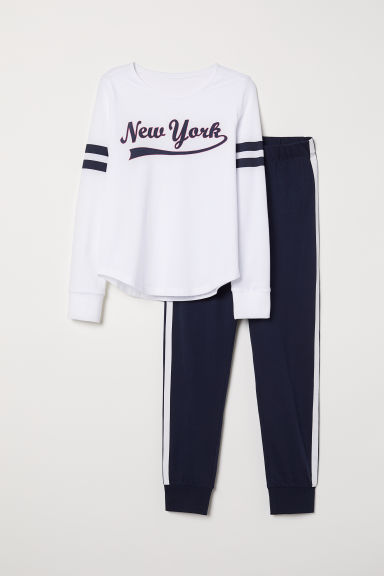 Jersey pyjamas - White/Dark blue - Kids | H&M