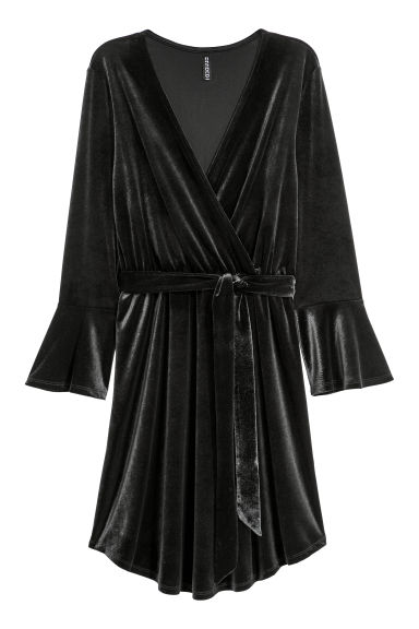 Wrap dress - Black -  | H&M CN
