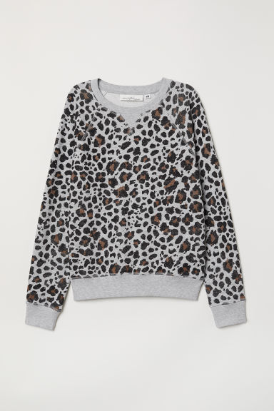 Patterned sweatshirt - Grey marl/Leopard print - Ladies | H&M CN