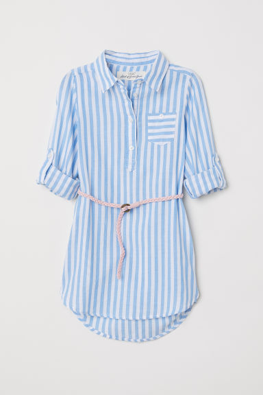 Shirt dress - Light blue/Striped -  | H&M CN