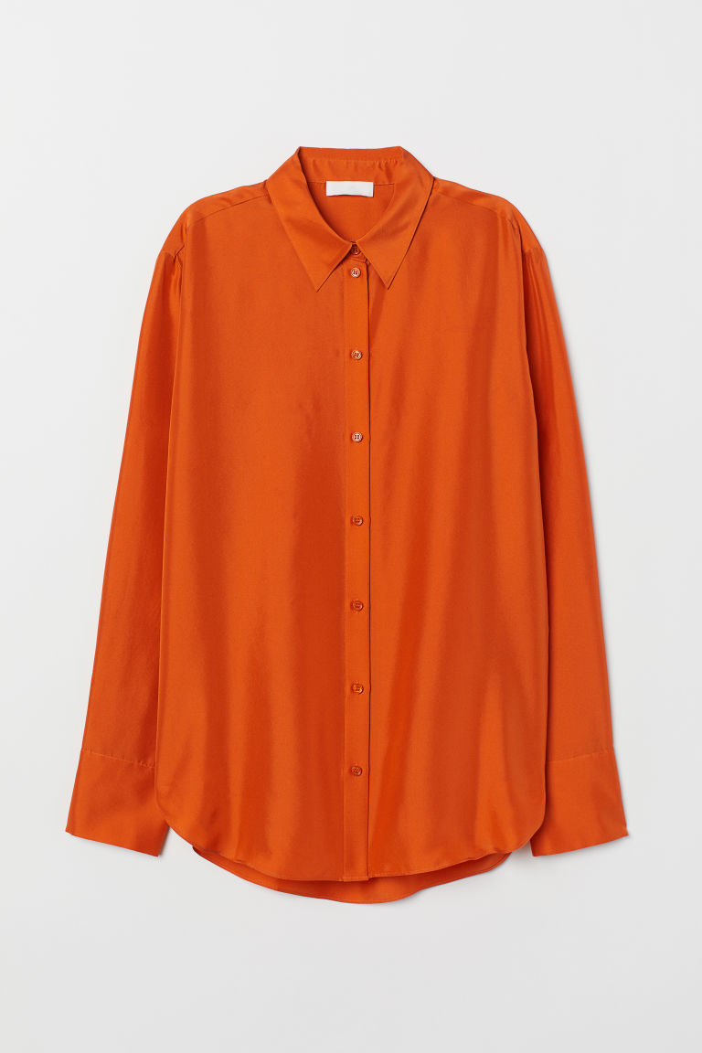 Silk shirt - Orange - Ladies | H&M IN