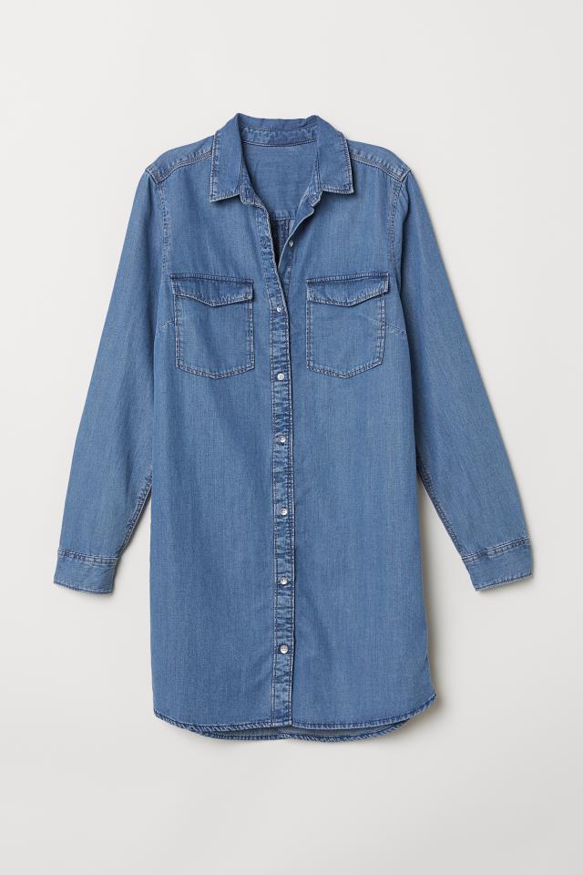 Lång skjorta - Ljus denimblå - DAM  0b6ab059f9987