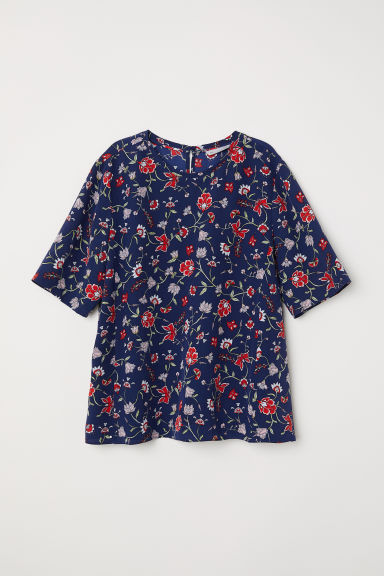 Silk top - Dark blue/Floral -  | H&M