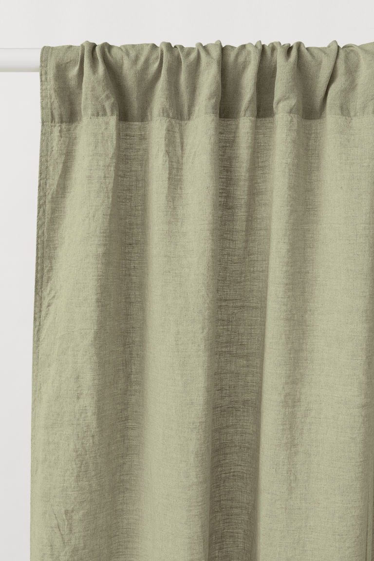 2-pack linen curtain lengths - Khaki green - Home All | H&M CN