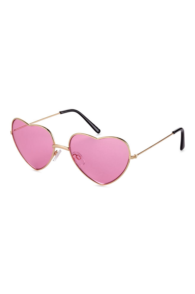 53942c57f48 Heart-shaped sunglasses - Gold Pink - Ladies