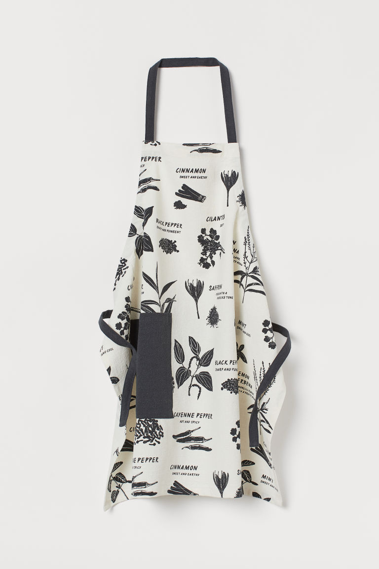 Linen-blend Apron - Natural white/dark gray - Home All | H&M CA