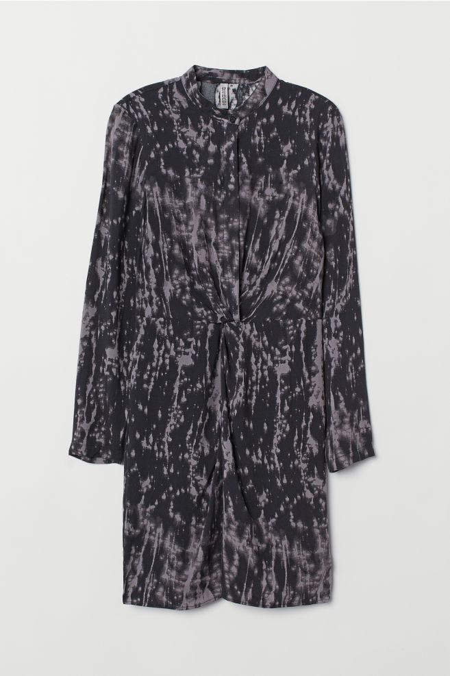 ... Dress with a knot detail - Dark grey Patterned - Ladies  344926bfa