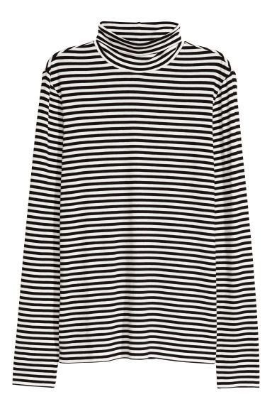 Polo-neck top - White/Black striped -  | H&M