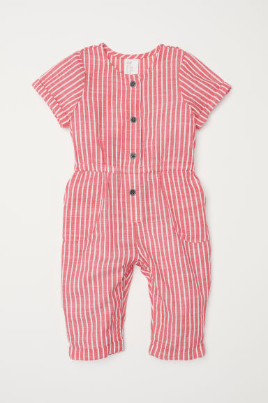 Short-sleeved romper suit - Red/White striped -  | H&M CN