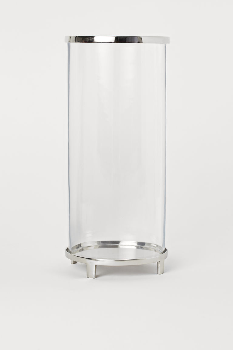Large candle lantern - Clear glass/Silver-coloured -  | H&M CN