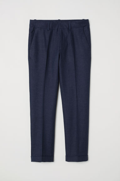 Linen-blend suit trousers - Dark blue - Kids | H&M CN