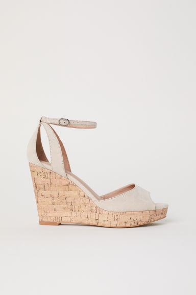 Wedge-heel platform sandals - Beige -  | H&M