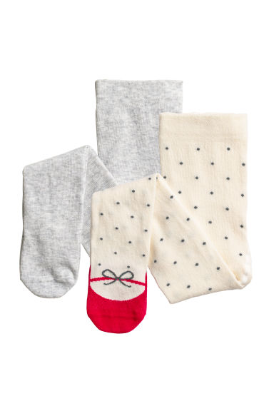 Collants, lot de 2 - Écru/pois - ENFANT | H&M FR