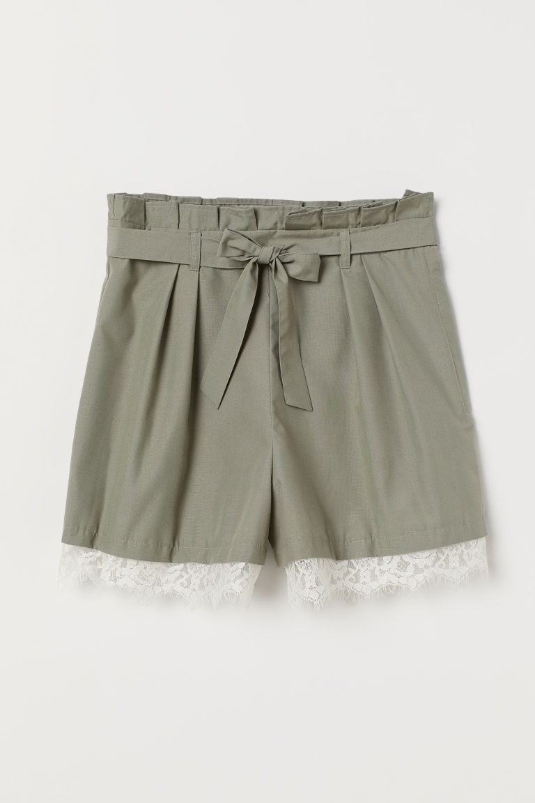 Paper-bag Shorts with Tie Belt - Dusky green -  | H&M US