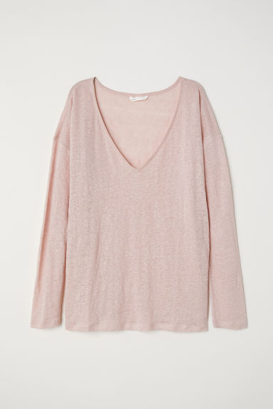 Top en lin - Rose poudré -  | H&M FR